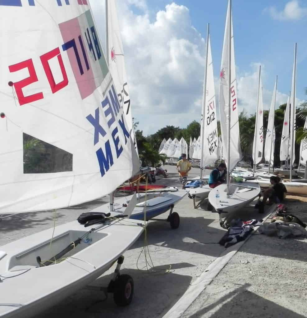RIGGED AND READY - Laseer and Oprtimist class sailboarts filled the srtreet outside the sailing club in Phase 4 over the weekend in preparation for naional chanpionship races by some 100 boats. (Staff Photo)