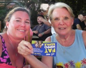 UPSIDE DOWN ticket is still good for a Hippo dinner and Fat Cat cruise for Jan Lindsey, right, with daughter April.